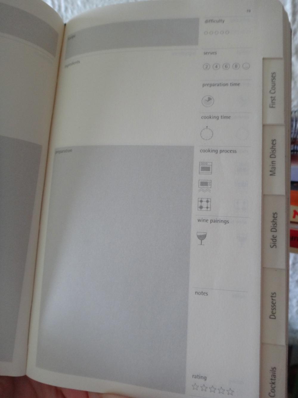 Divisão interna do Moleskini ajuda você a separar os diferentes pratos de um menu e os detalhes acerca do preparo