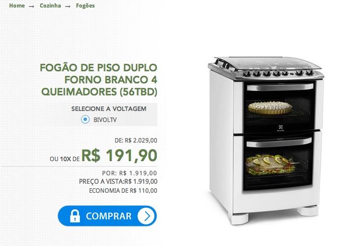 Foto do nosso fogão tirada do site oficial. Preço de fev/2014